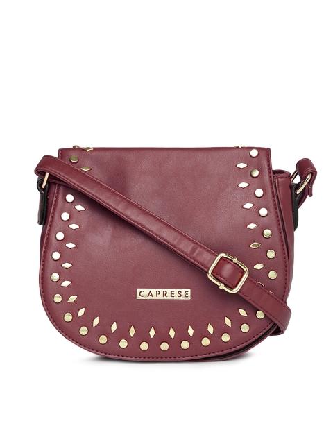 Caprese Burgundy Metallic Studded Sling Bag