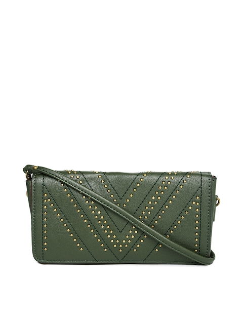 Caprese Olive Green Clutch with Metallic Studs