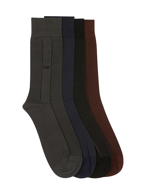 Hush Puppies Men Pack of 4 Patterned Above Ankle-Length Socks