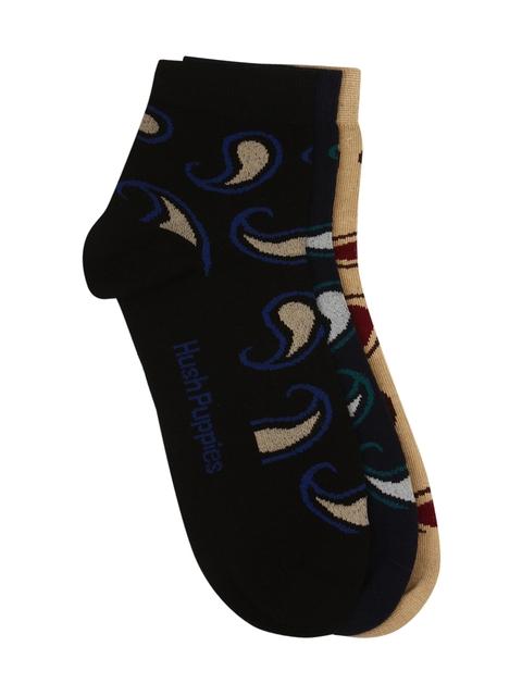 Hush Puppies Men Pack of 3 Patterned Ankle-Length Socks