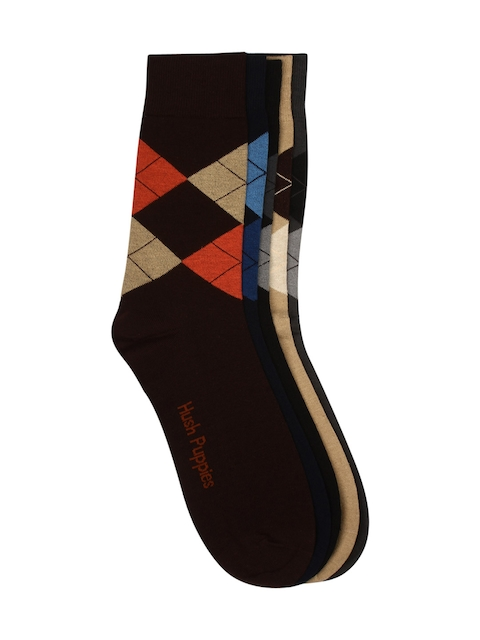 Hush Puppies Men Pack of 5 Patterned Above Ankle-Length Socks