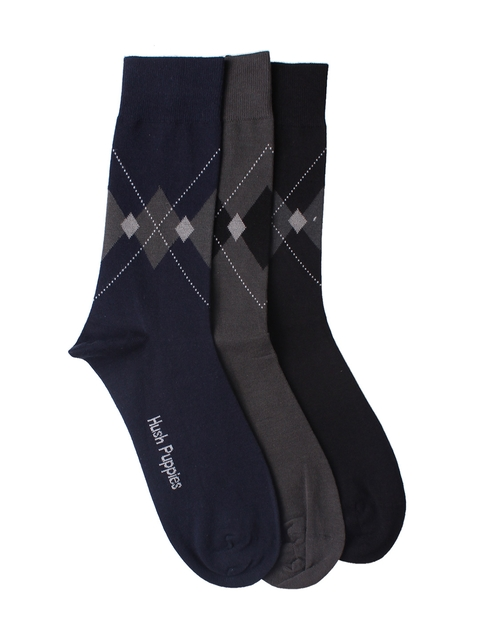Hush Puppies Men Pack of 3 Patterned Above Ankle-Length Socks