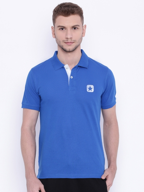 Converse Men Blue Polo T-shirt