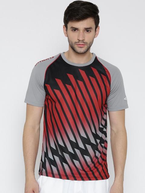 Umbro Men Black & Red Printed Round Neck T-shirt