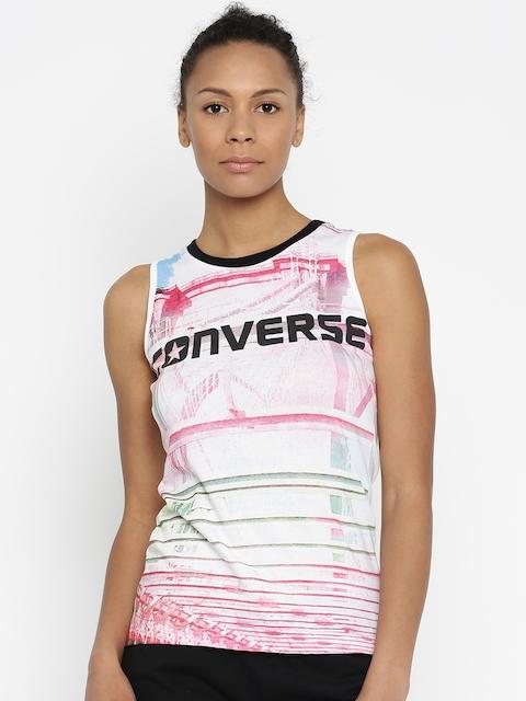 Converse White Printed Top