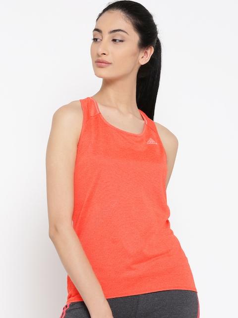 ADIDAS Women Coral Orange Super Nova Solid Tank Top