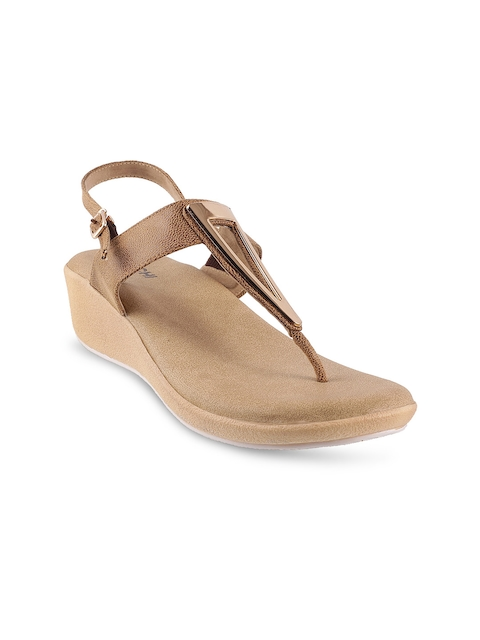 Mochi Women Tan Brown Solid Wedges