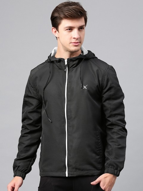 HRX Active by Hrithik Roshan Men Black Solid Hooded Sporty Jacket