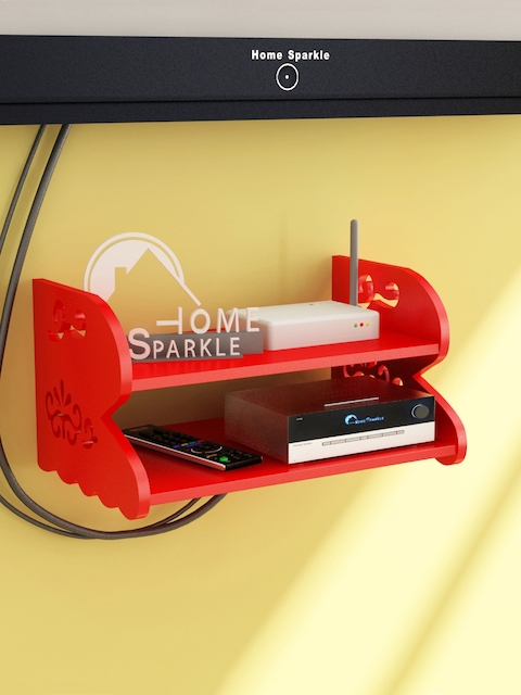 Home Sparkle Red Carved Set Top Box Holder