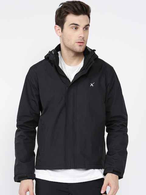 HRX by Hrithik Roshan Men Black Solid Sporty Jacket with Detachable Hood