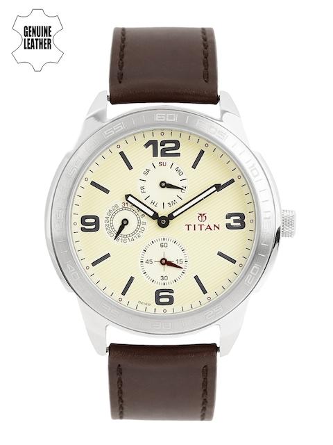 Titan Men Cream-Coloured Multifunction Analogue Watch 1585SL05