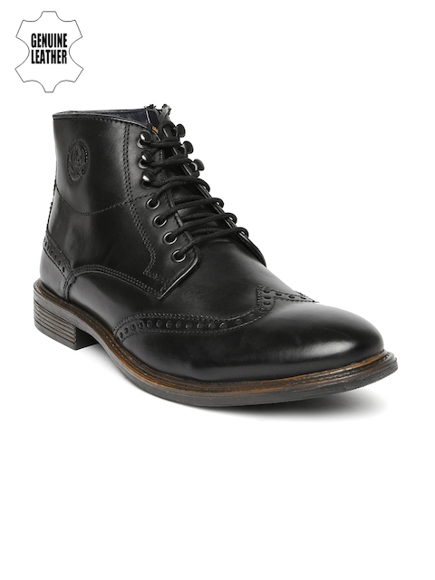 U.S. Polo Assn. Men Black Genuine Leather High-Top Flat Boots