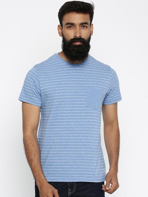Indian Terrain Men Blue Self Design Round Neck T-shirt