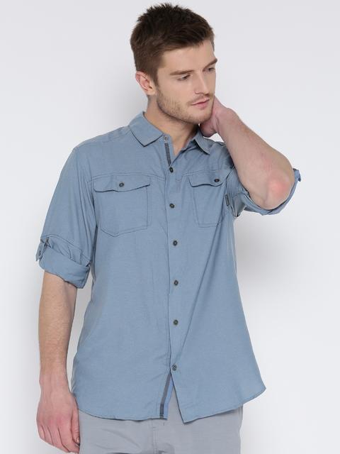 Columbia Men Blue Pilsner Peak II™ Long Sleeves Solid Casual Shirt