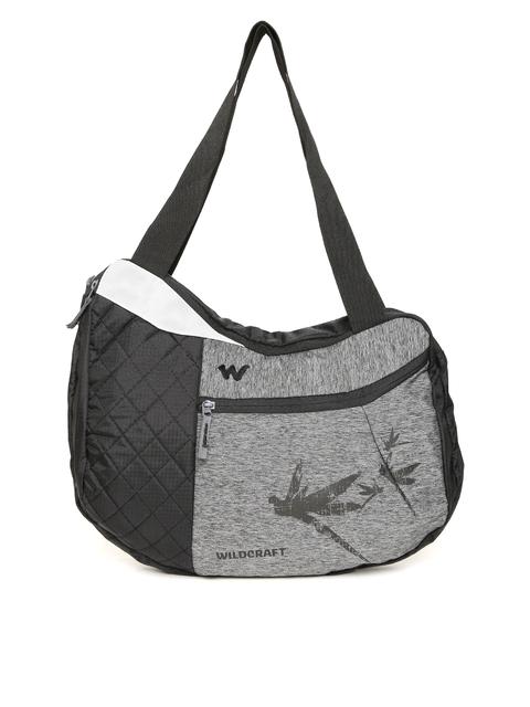 Wildcraft Unisex Grey & Black Hobo L Printed Messenger Bag