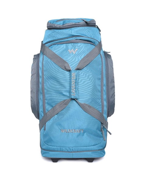 Wildcraft Unisex Blue Voyager 26 Textured Trolley Duffel Bag