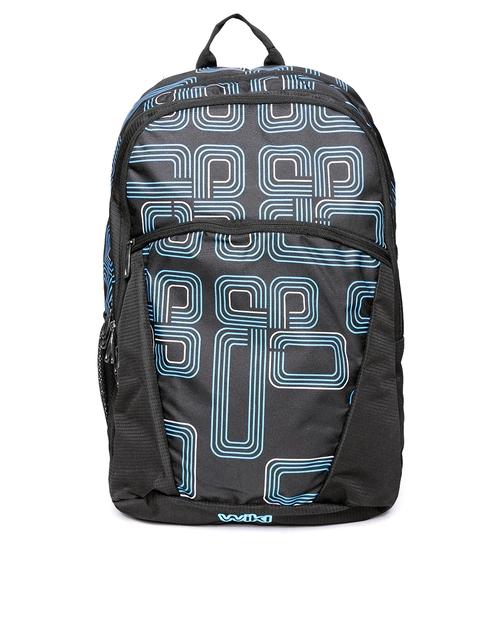 Wildcraft Unisex Black & Blue Geometric Backpack