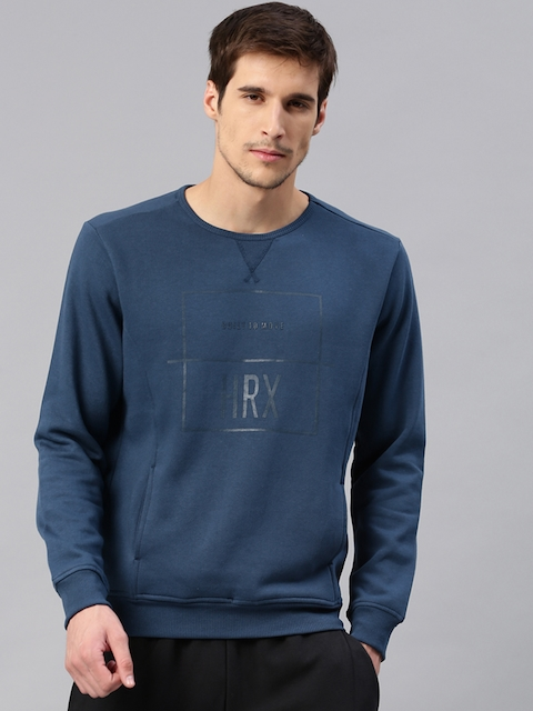 HRX by Hrithik Roshan Men Blue Printed Active Sweatshirt