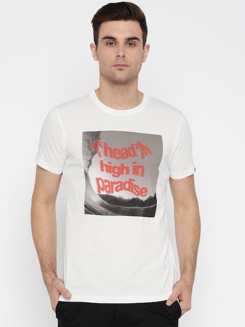 Vans Men White Printed Round Neck T-shirt