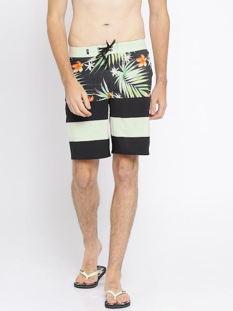 Vans Men Black & Green Printed Regular Fit Shorts