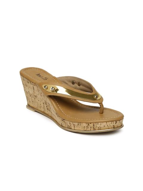 Inc 5 Women Tan Brown Solid Sandals