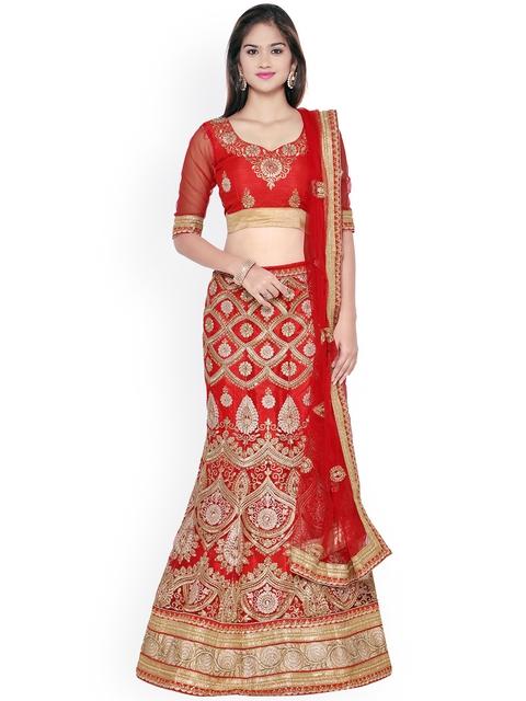 Aasvaa Red Embroidered Net Semi-Stitched Lehenga Choli with Dupatta