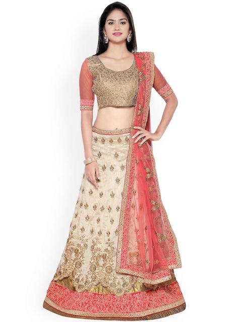 Aasvaa Cream-Coloured & Gold-Toned Banglori Silk Semi-Stitched Lehenga Choli with Dupatta