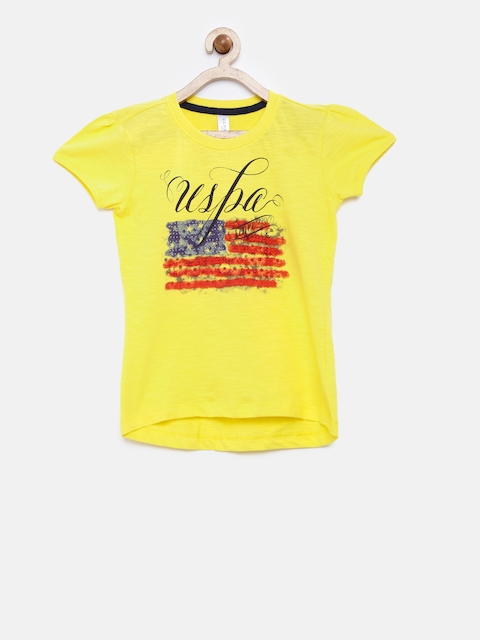 U.S. Polo Assn. Kids Girls Yellow Printed Round Neck T-shirt  available at myntra for Rs.359