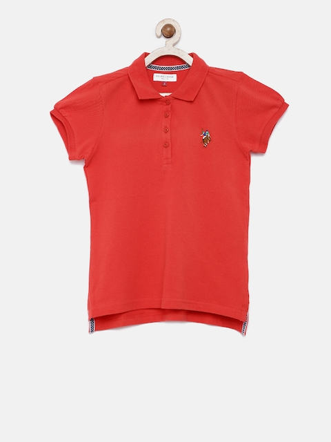 U.S. Polo Assn. Kids Girls Red Solid Polo T-shirt  available at myntra for Rs.449