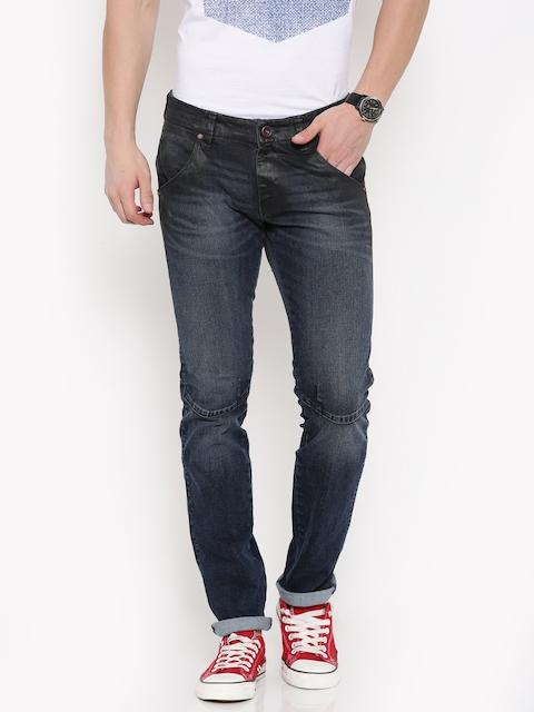 Wrangler Men Dark Blue Low-Rise Skanders Slim Fit Coated Jeans