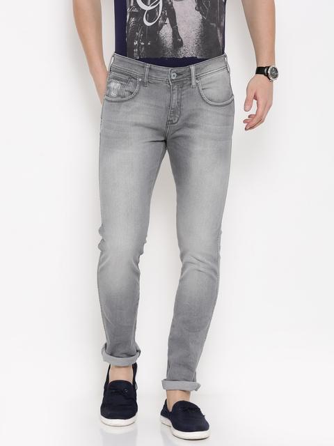 Wrangler Men Grey Low-Rise Vegas Skinny Fit Stretchable Jeans