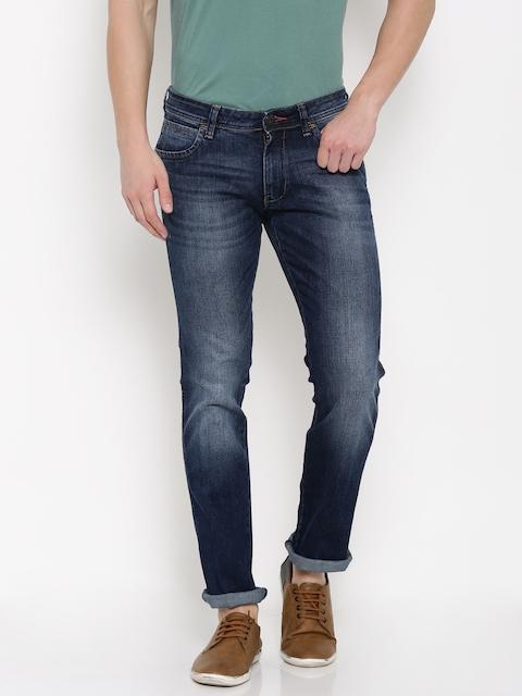 Wrangler Men Blue Low-Rise Skanders Slim Fit Stretchable Jeans