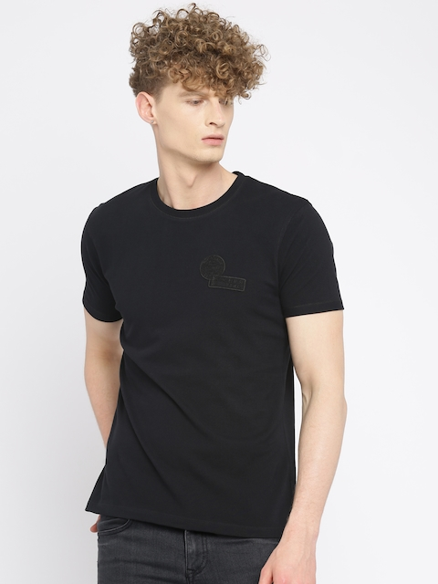Wrangler Men Black Solid Round Neck T-shirt