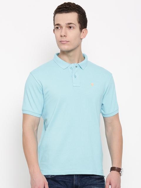 Wrangler Men Blue Solid Polo T-shirt