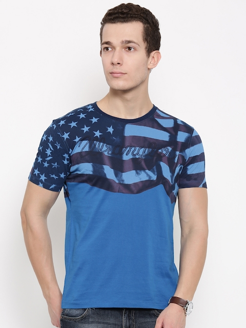Wrangler Men Blue Slim Fit Printed T-shirt  available at myntra for Rs.777