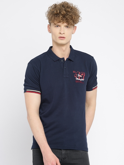 Wrangler Men Navy Blue Solid Polo Collar T-shirt  available at myntra for Rs.672