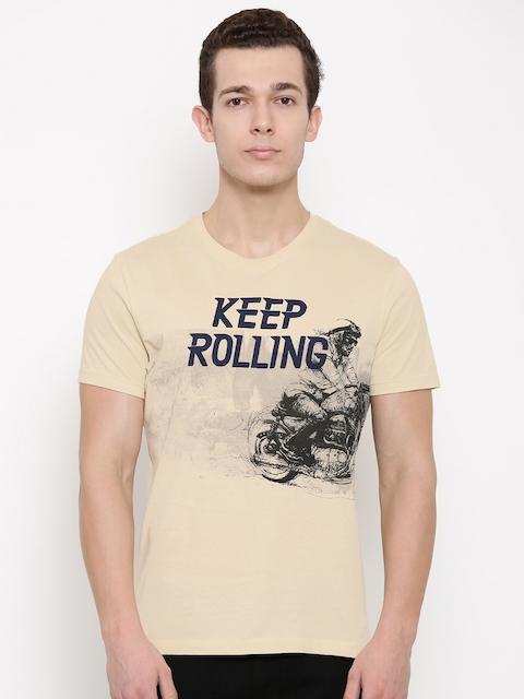 Wrangler Beige Printed Round Neck T-shirt