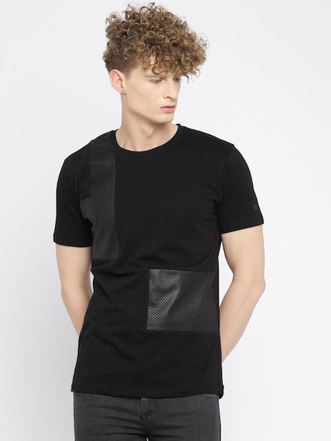 Wrangler Men Black Solid Round Neck T-shirt