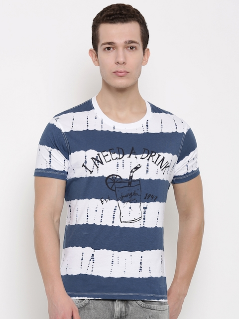 Wrangler Men Navy Blue & White Printed Round Neck T-shirt