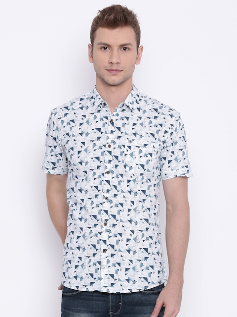Wrangler Men White Slim Fit Printed Casual Shirt  available at myntra for Rs.718
