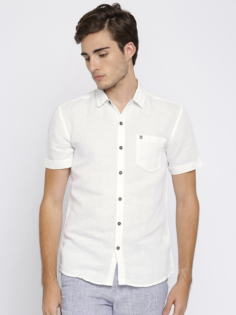 Wrangler Men White Slim Fit Solid Casual Shirt  available at myntra for Rs.878