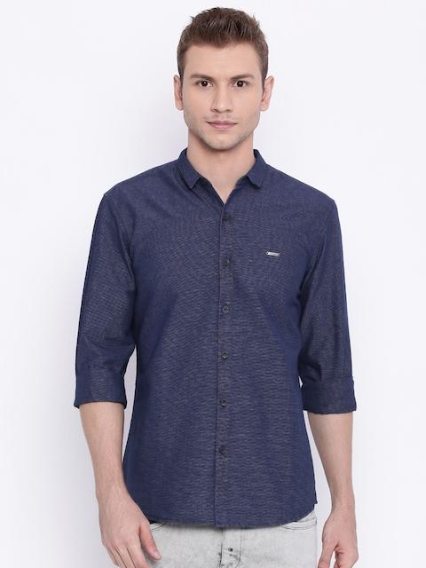 Wrangler Men Navy Blue Slim Fit Self-Design Casual Shirt