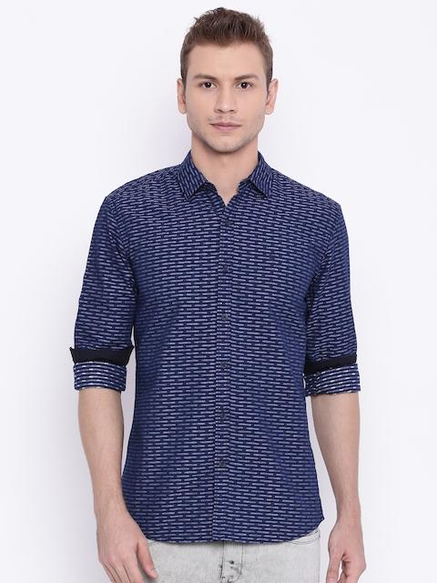 Wrangler Navy Blue Slim Fit Printed Casual Shirt