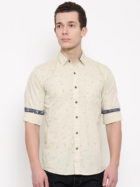 Wrangler Men Beige Regular Fit Checked Casual Shirt