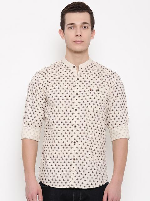 Wrangler Men Beige & Brown Slim Fit Printed Casual Shirt