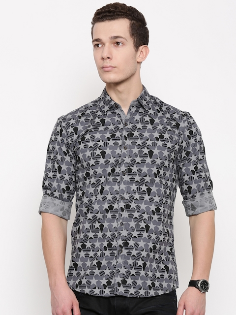 Wrangler Men Grey & Black Slim Fit Printed Casual Shirt