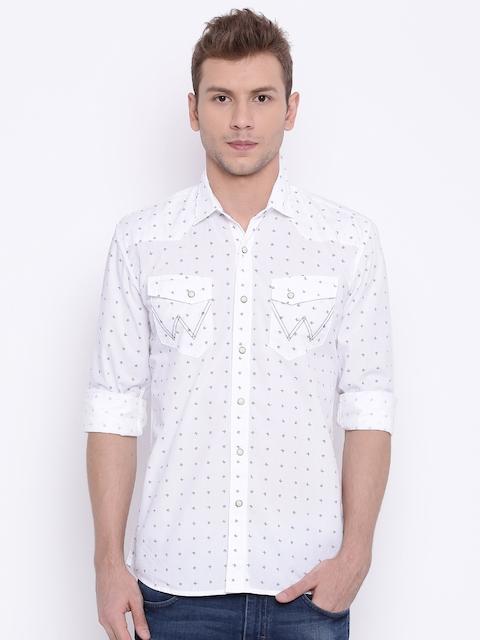 Wrangler Men White Regular Fit Printed Casual Shirt