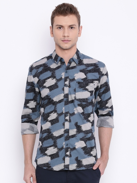 Wrangler Men Blue Slim Fit Printed Casual Shirt  available at myntra for Rs.798