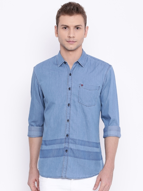 Wrangler Blue Slim Fit Solid Casual Shirt