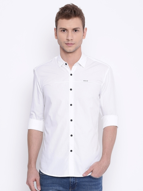 Wrangler Men White Slim Fit Casual Shirt  available at myntra for Rs.758